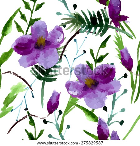 Purple Watercolor Flowers Stock Images Royalty Free