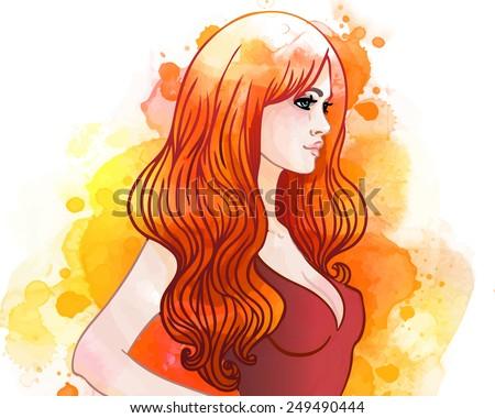 Watercolor illustration of pretty woman in underwear. Vector. - stock vector