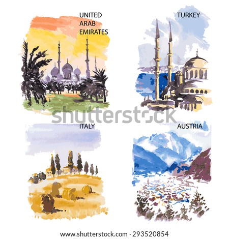 Watercolor illustration of sightseeing locales with place for text on white background. - stock vector