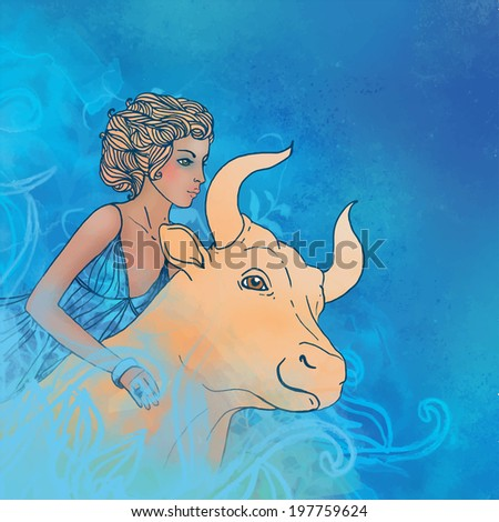 Watercolor illustration of Taurus zodiac sign as a beautiful girl with a bull.Vector version. - stock vector
