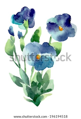 Watercolor illustration of Violet flowers - stock vector