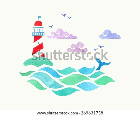 watercolor illustration with lighthouse - stock vector