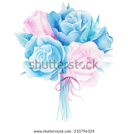 Watercolor illustrations of rose bouquet - stock vector