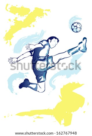 Watercolor imitating vector illustration of football player kicking the ball in jump - stock vector
