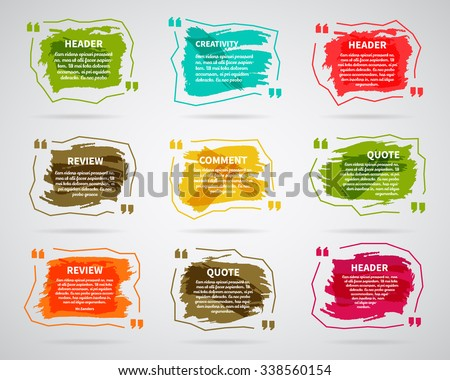 Watercolor, ink, splash Quote blank templates. Text box bubbles Empty template. Abstract business card template, note, information, text. Print multicolor design. Quote form. For Website. Vector set. - stock vector