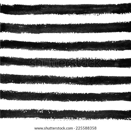 Watercolor/ink stripes pattern - stock vector