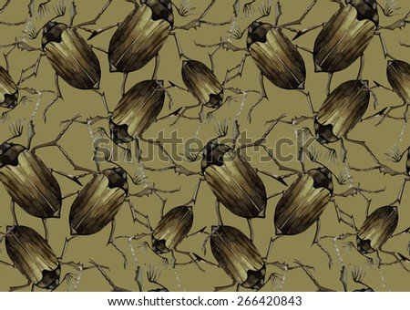 Watercolor insects: chafer.  Vector pattern