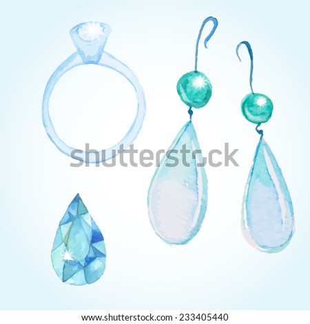 Watercolor jewelry set: diamond ring, earrings, polished diamond. Hand drawn  gem objects.  - stock vector