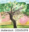Watercolor landscape with tree and meadow - stock photo
