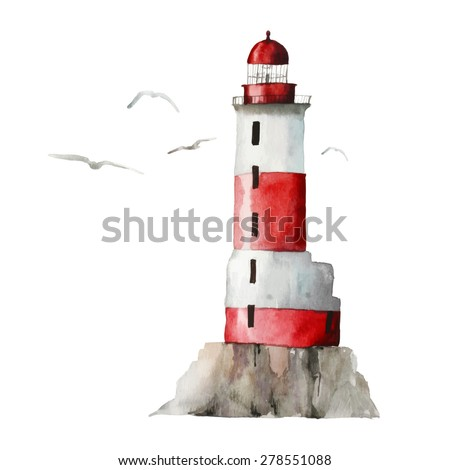 Watercolor lighthouse illustration. Isolated lighthouse and seagulls on white background. Hand drawn artwork. Vector  - stock vector