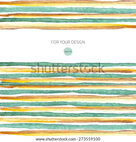 Watercolor lines background. Colorful abstract texture. Vector design elements. Vintage frame. Art advertising template. Stroke background. - stock vector