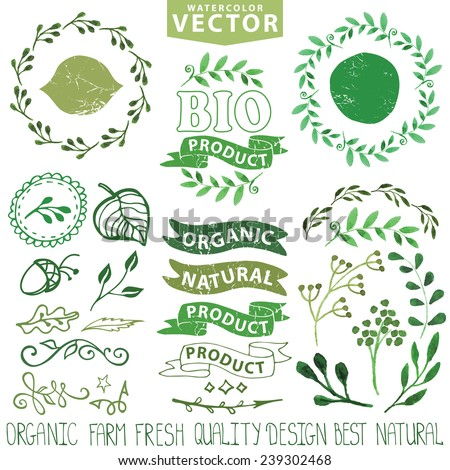 Watercolor logo template set.Badges,labels,green branches,floral elements,wreaths ,leaves,laurels.Organic,bio,eco,natural design,ecology design logotypes.Hand drawing painting texture.Vintage vector - stock vector