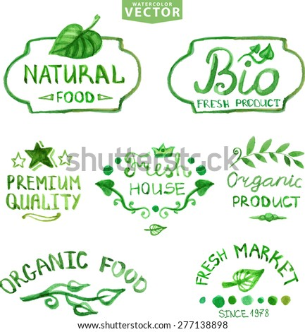 Watercolor logotypes set.Badges, labels, plants decor elements,wreaths and laurels,lettering.Organic,bio,ecology natural design template.Hand drawing painting.Vintage vector,green colors