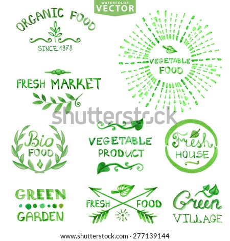 Watercolor logotypes set.Badges, labels, plants decor elements,wreaths and laurels,lettering.Organic,bio,ecology natural design template.Hand drawing painting.Vintage vector,green colors - stock vector
