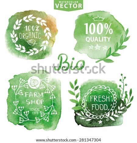 Watercolor logotypes set.Vector Green steins,branches silhouette,labels,plants elements,wreaths and laurels.Organic,bio,ecology,eco,natural design template.Hand drawing painting logotype.Vintage sign - stock vector