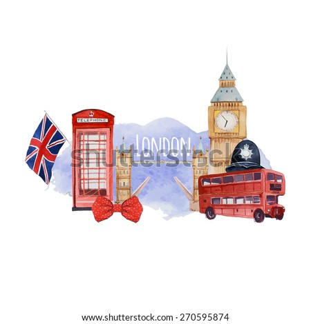 Watercolor London banner. Label with hand drawn elements: policeman helmet, Big Ben clock, flag of Great Britain, tower bridge, red bus, Tower bridge, red phone booth. English capital signs - stock vector