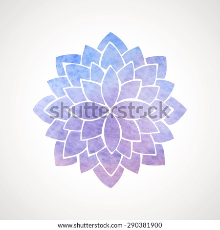 Watercolor lotus flower in blue and violet colors. Symbol of india, oriental practices, yoga, meditation. Vector decorative element. Logo template - stock vector