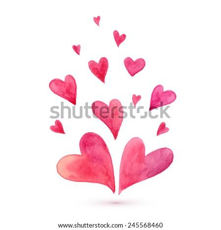 Watercolor lovely vector hearts - stock vector