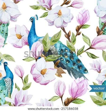 watercolor, magnolia, flower, peacock, pattern, wallpaper,  - stock vector