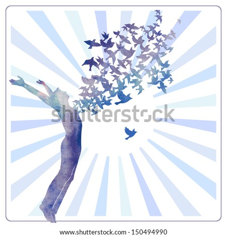 Watercolor man jumping with swarm of birds. - stock vector