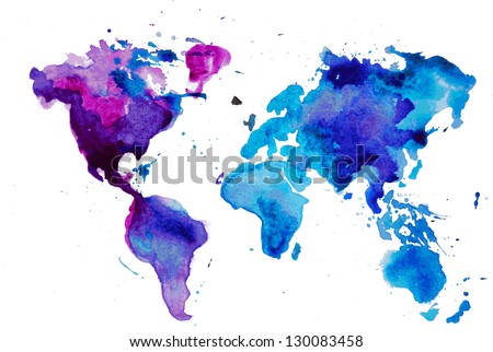 watercolor map of the world isolated on white - stock vector