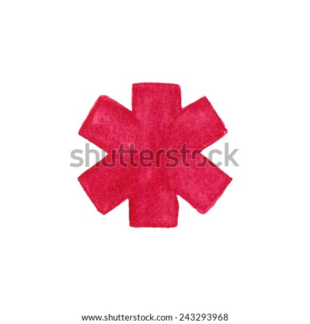 Watercolor medical emergency symbol on the white background, aquarelle pencil.  Vector illustration. Hand-drawn decorative element useful for stands, posters, design. - stock vector
