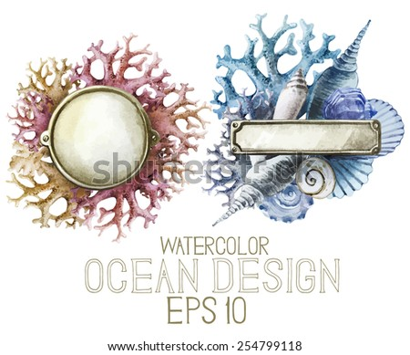 Watercolor metal plates with ocean design. Shells and corals on background. Vector set  isolated on white background - stock vector