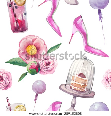 Watercolor modern elegant summer party style pattern. Seamless texture with bouquet with roses, peony, pink shoes, naked cake, air balloons,lemonade glass. Hand painted vector wallpaper - stock vector
