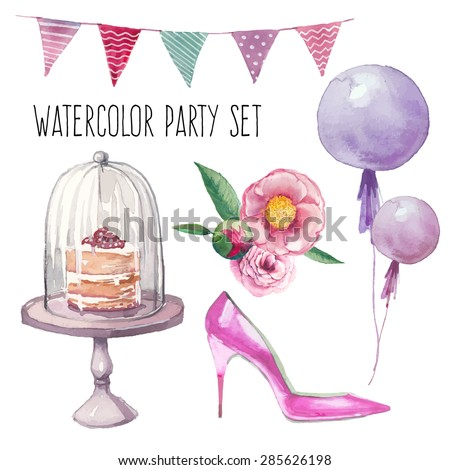 Watercolor modern elegant wedding style set.  Various objects: bride bouquet with roses, peony, pink shoes, naked cake, air balloons, pattern flags garland. Hand painted design set.  - stock vector