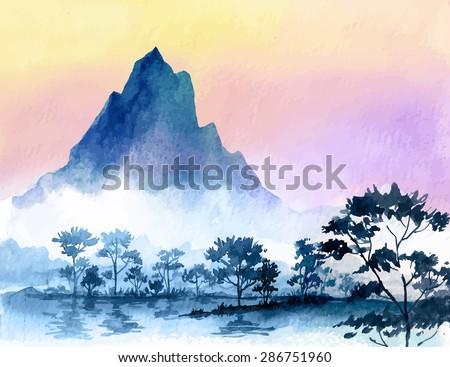 watercolor mountains - stock vector