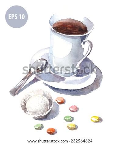 watercolor mug with spoon - stock vector