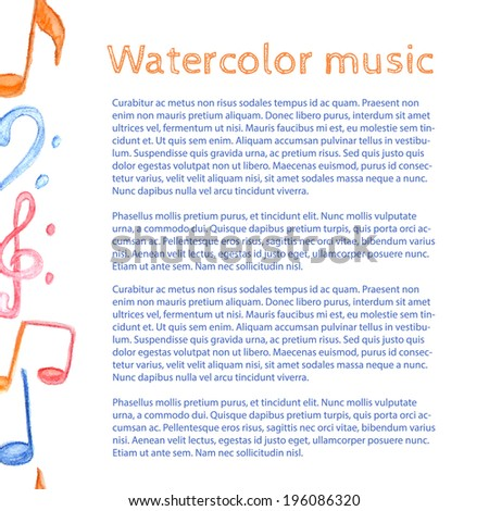 Watercolor music - vector background - stock vector