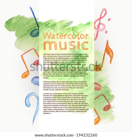 Watercolor music - vector banner - stock vector