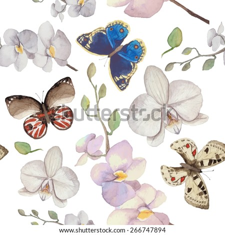 Watercolor natural pattern with orchid flowers and butterfly. Seamless texture with floral and herbal elements, various butterfly. Vector hand drawn background - stock vector