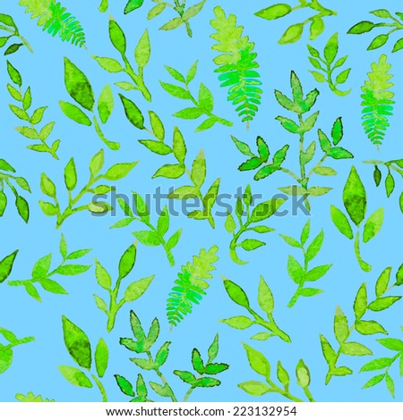 Watercolor natural seamless pattern with plants, branches and leaves. Green and blue colors palette texture. Vector illustration