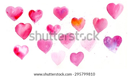 Watercolor of hearts - stock vector