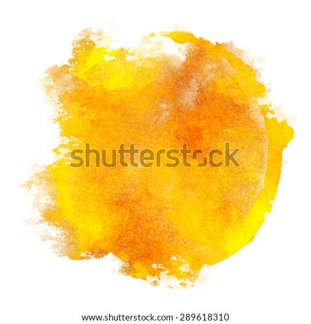 Watercolor orange pant stain on white background