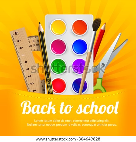 """Watercolor paint, crayons, scissors,  ruler and protractor, on the yellow background with  """"back to school"""" text.  Bright, colored   concept advertising banner or flyer to the school subject - stock vector"""