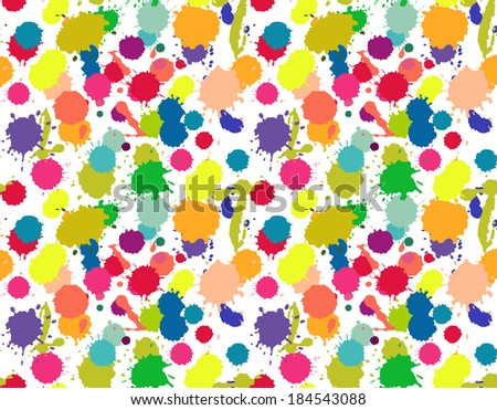 watercolor paint stains colorful seamless pattern - stock vector