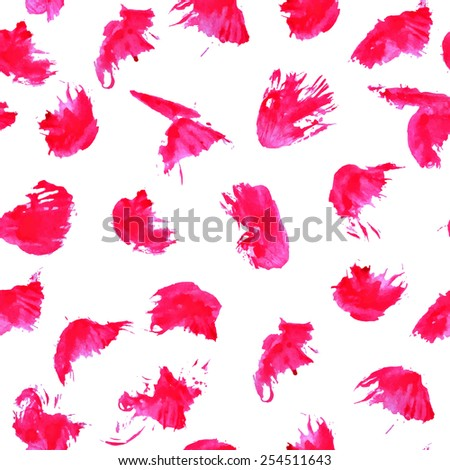 Watercolor paint stains seamless pattern. Bright pink watercolor stains repetitive background. Abstract blobs wallpaper. EPS10 vector abstract background. Isolated on white.