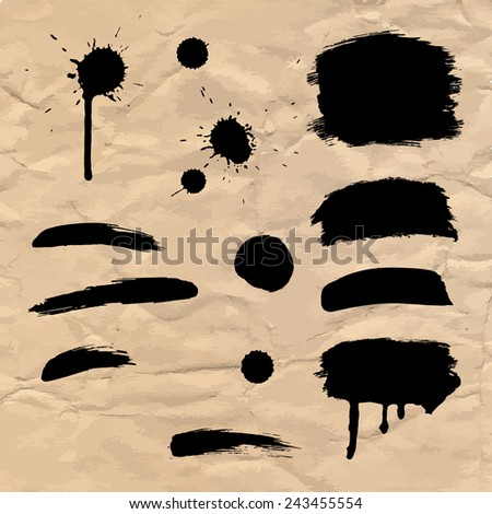 Watercolor paintbrush on the grunge paper texture - stock vector