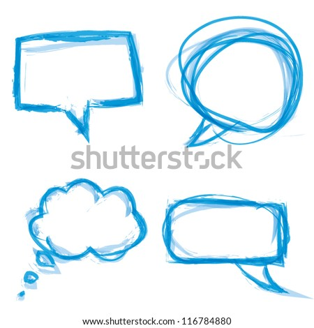 Watercolor paintbrush speech bubbles vector eps10 - stock vector