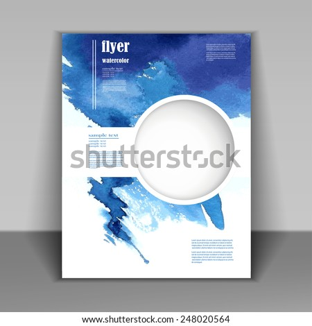 watercolor painted  background design, business corporate brochure template flyer layout, vector illustration - stock vector