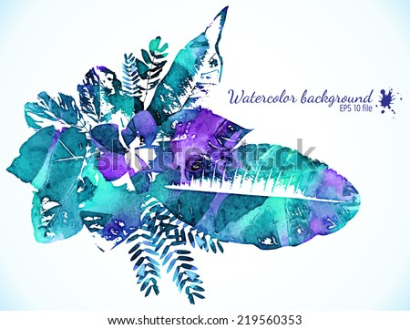 Watercolor painted green and magenta leaves - vector illustration