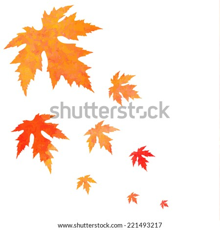 Watercolor painted orange vector leaves fall