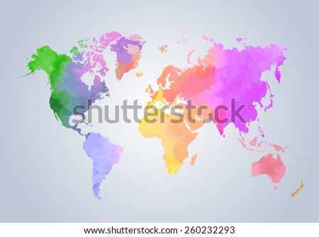 Watercolor painted world map on white stock vector 260232293 watercolor painted world map on white background vector illustration gumiabroncs Gallery