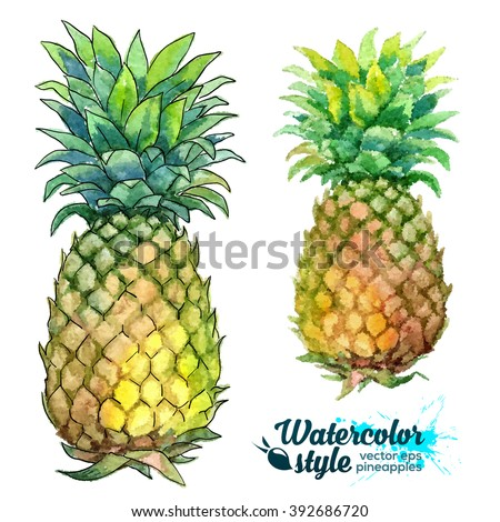 Watercolor painting and dot art imitation vector fresh pineapples - stock vector