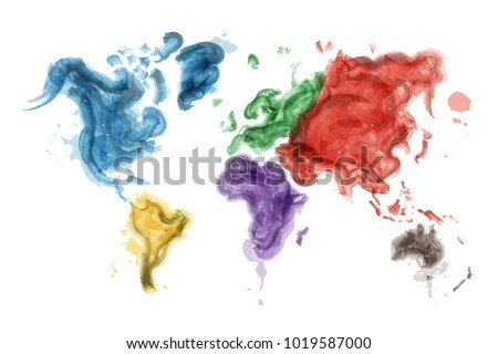 Watercolor Painting Design World Map Continents Stock Vector