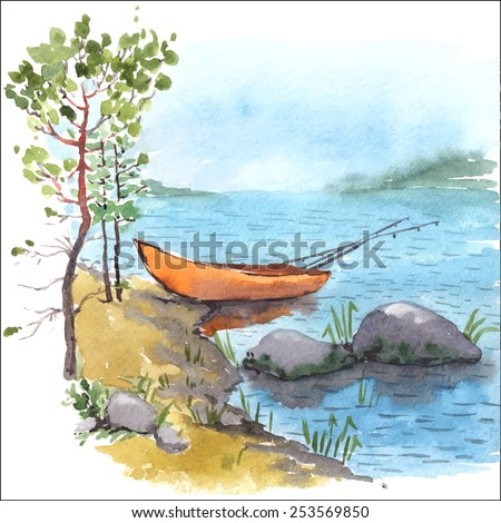 Watercolor painting of bank lake or river with fisherman boat with fishing roods in it, stones and pines. Vectorized illustration. - stock vector