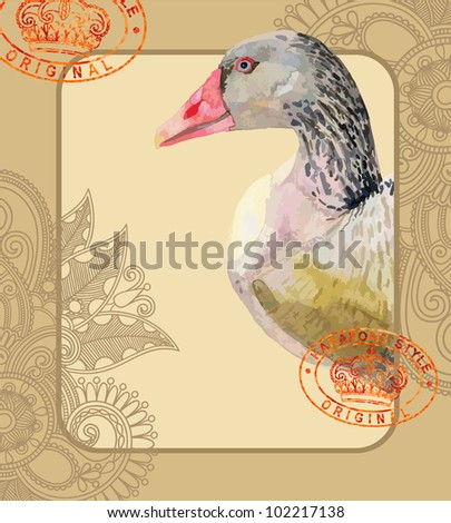 watercolor painting of bird, goose. I am author of this illustration - stock vector